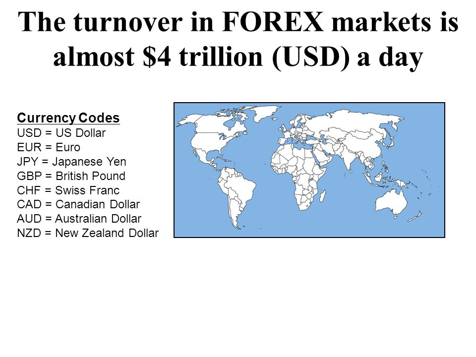 The turnover in FOREX markets is almost $4 trillion (USD) a day Currency Codes USD = US Dollar EUR = Euro JPY = Japanese Yen GBP = British Pound CHF =