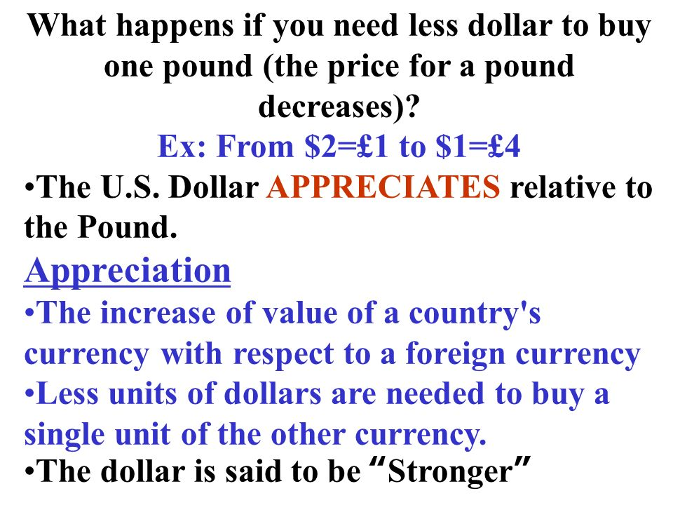 What happens if you need less dollar to buy one pound (the price for a pound decreases)? Ex: From $2=£1 to $1=£4 The U.S. Dollar APPRECIATES relative