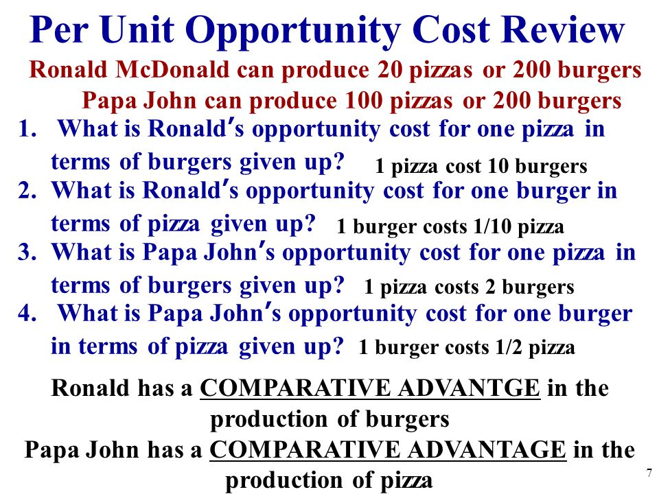 Absolute and Comparative Advantage Absolute Advantage The producer that can produce the most output OR requires the least amount of inputs (resources) Ex: Papa John has an absolute advantage in pizzas because he can produce 100 and Ronald can only make 20.