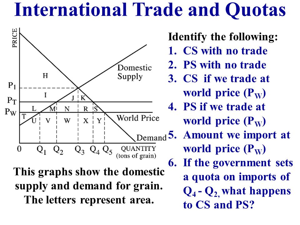 #2 Import Quotas A quota is a limit on number of exports. The government sets the maximum amount that can come in the country. Purpose: To protect dom