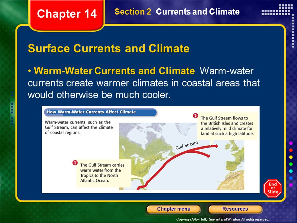 Copyright © by Holt, Rinehart and Winston. All rights reserved. ResourcesChapter menu Section 2 Currents and Climate Surface Currents and Climate Warm