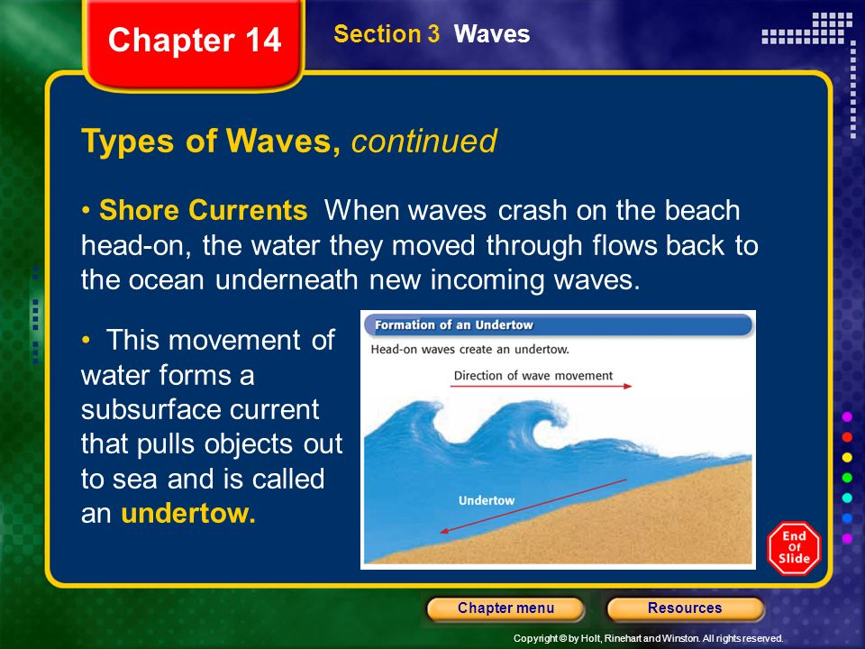 Copyright © by Holt, Rinehart and Winston. All rights reserved. ResourcesChapter menu Section 3 Waves Types of Waves, continued Shore Currents When wa