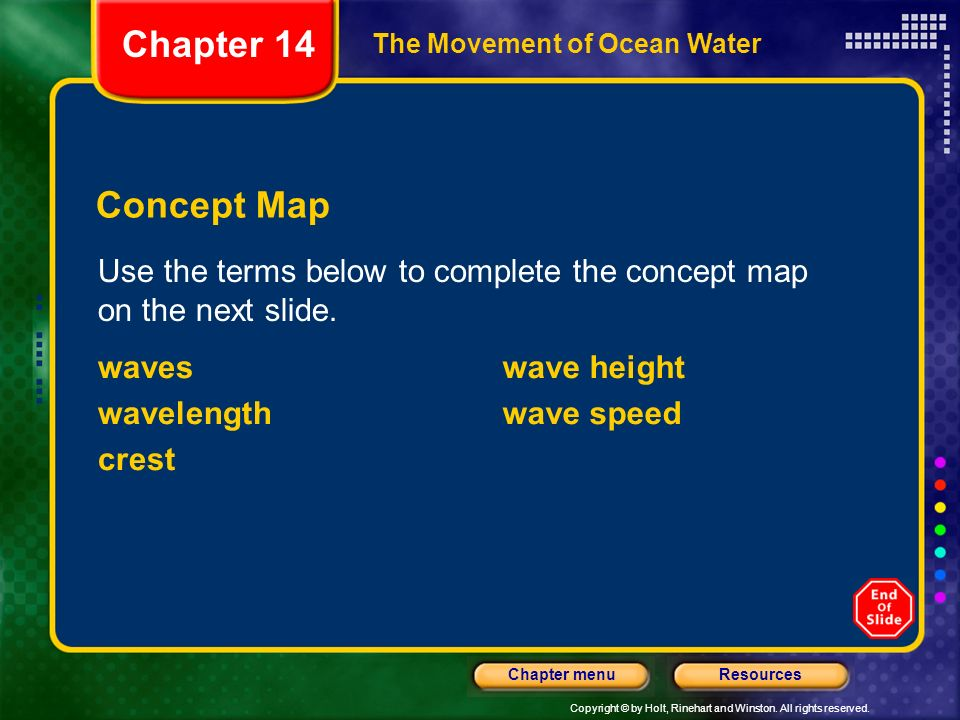 Copyright © by Holt, Rinehart and Winston. All rights reserved. ResourcesChapter menu The Movement of Ocean Water Use the terms below to complete the