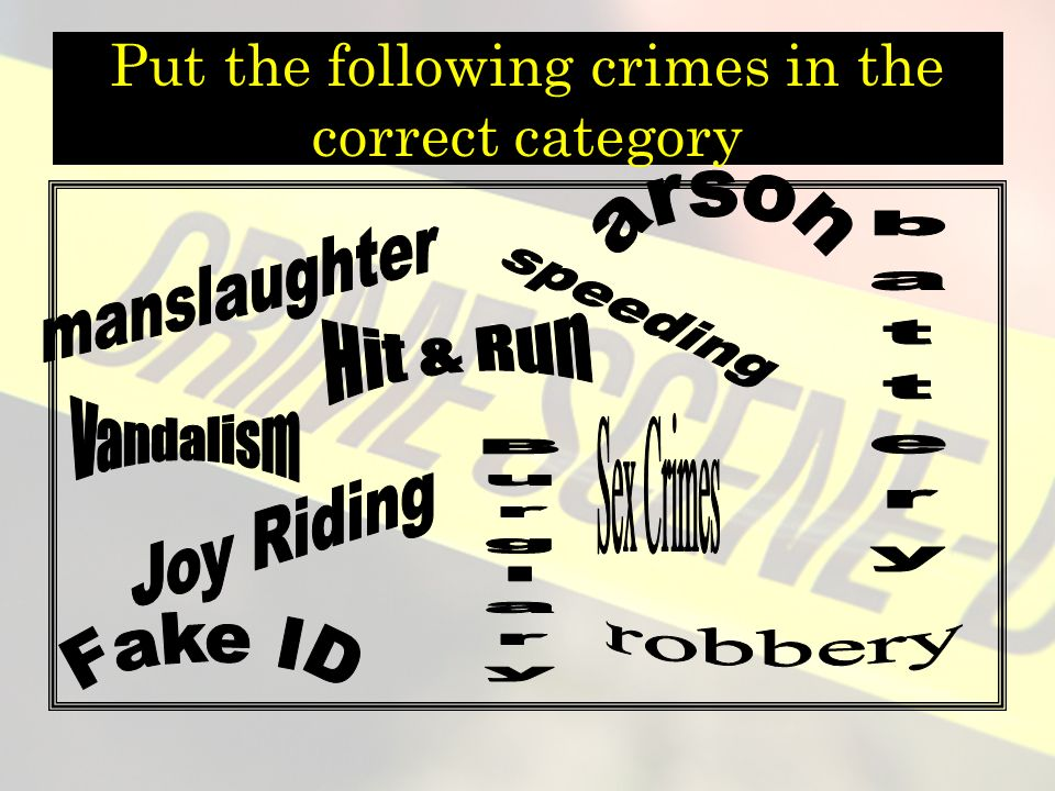 Put the following crimes in the correct category
