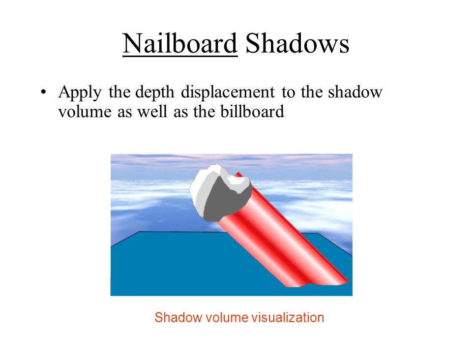 Nailboard Shadows Apply the depth displacement to the shadow volume as well as the billboard Shadow volume visualization