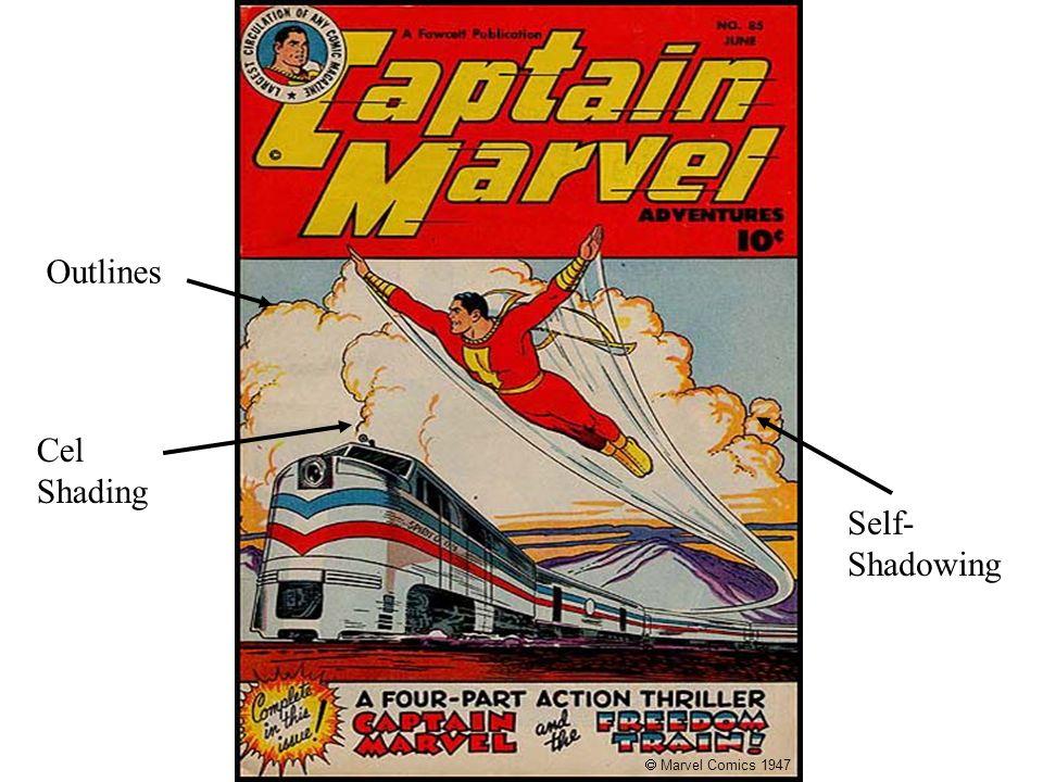 Captain Marvel, June 1947 Marvel Comics 1947 Outlines Self- Shadowing Cel Shading