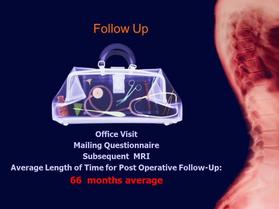 Follow Up Office Visit Mailing Questionnaire Subsequent MRI Average Length of Time for Post Operative Follow-Up: 66 months average