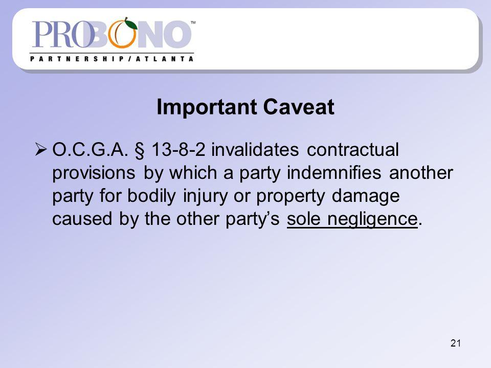 Important Caveat O.C.G.A.
