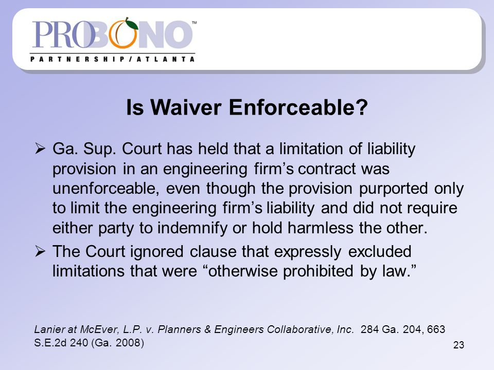 Is Waiver Enforceable. Ga. Sup.