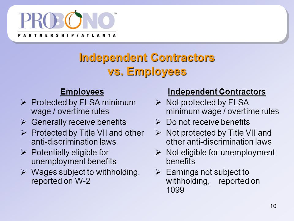 10 Independent Contractors vs.