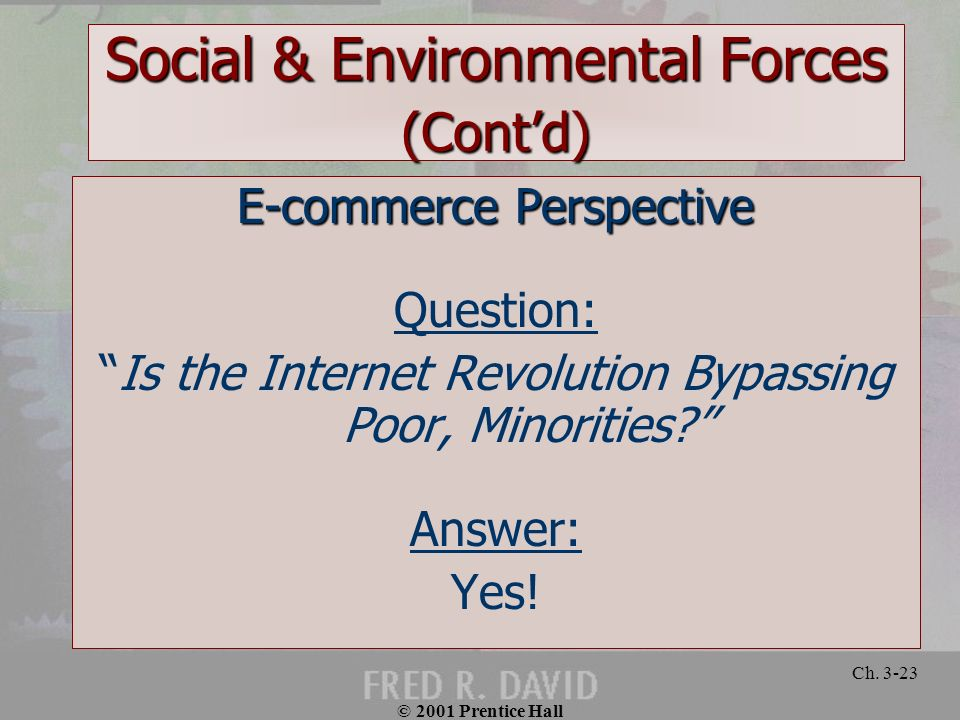 © 2001 Prentice Hall Ch. 3-23 Social & Environmental Forces (Contd) E-commerce Perspective Question: Is the Internet Revolution Bypassing Poor, Minori