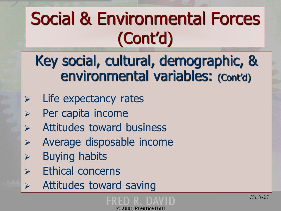 © 2001 Prentice Hall Ch. 3-27 Social & Environmental Forces (Contd) Key social, cultural, demographic, & environmental variables: (Contd) Life expecta