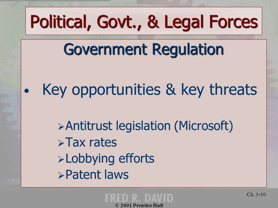 © 2001 Prentice Hall Ch. 3-30 Political, Govt., & Legal Forces Government Regulation Key opportunities & key threats Antitrust legislation (Microsoft)