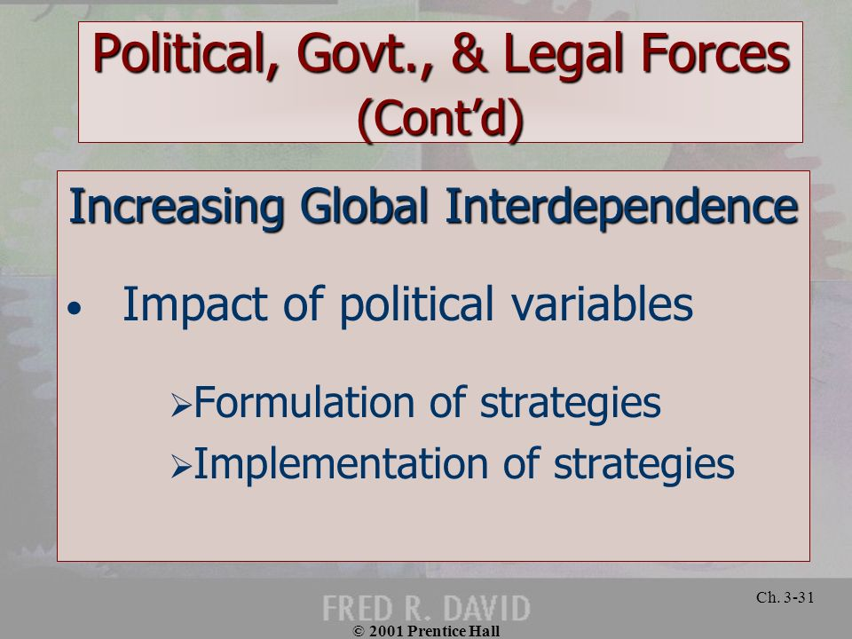 © 2001 Prentice Hall Ch. 3-31 Political, Govt., & Legal Forces (Contd) Increasing Global Interdependence Impact of political variables Formulation of