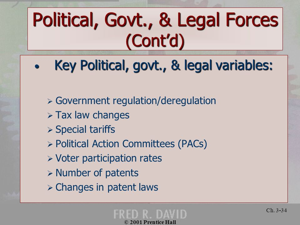 © 2001 Prentice Hall Ch. 3-34 Political, Govt., & Legal Forces (Contd) Key Political, govt., & legal variables: Key Political, govt., & legal variable
