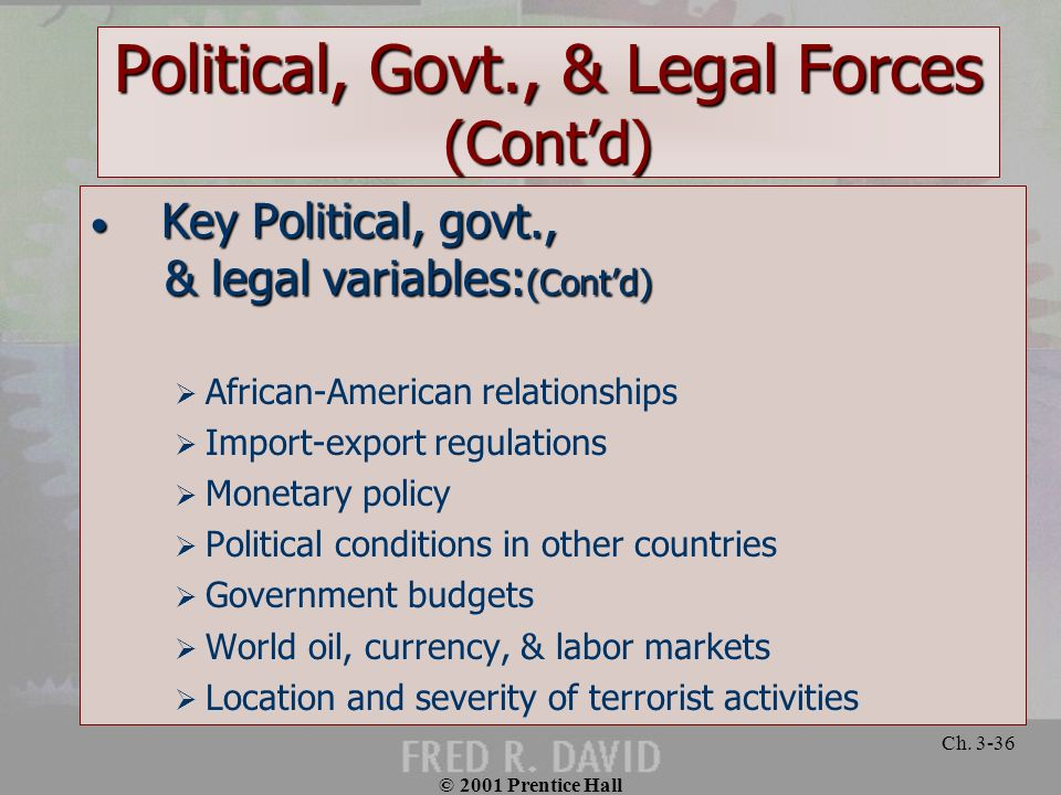 © 2001 Prentice Hall Ch. 3-36 Political, Govt., & Legal Forces (Contd) Key Political, govt., Key Political, govt., & legal variables: (Contd) & legal