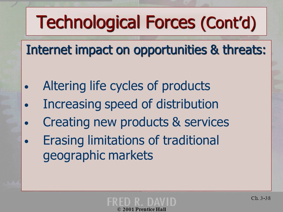 © 2001 Prentice Hall Ch. 3-38 Technological Forces (Contd) Internet impact on opportunities & threats: Altering life cycles of products Increasing spe