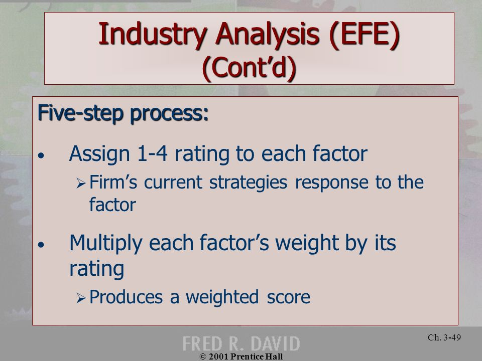 © 2001 Prentice Hall Ch. 3-49 Industry Analysis (EFE) (Contd) Five-step process: Assign 1-4 rating to each factor Firms current strategies response to