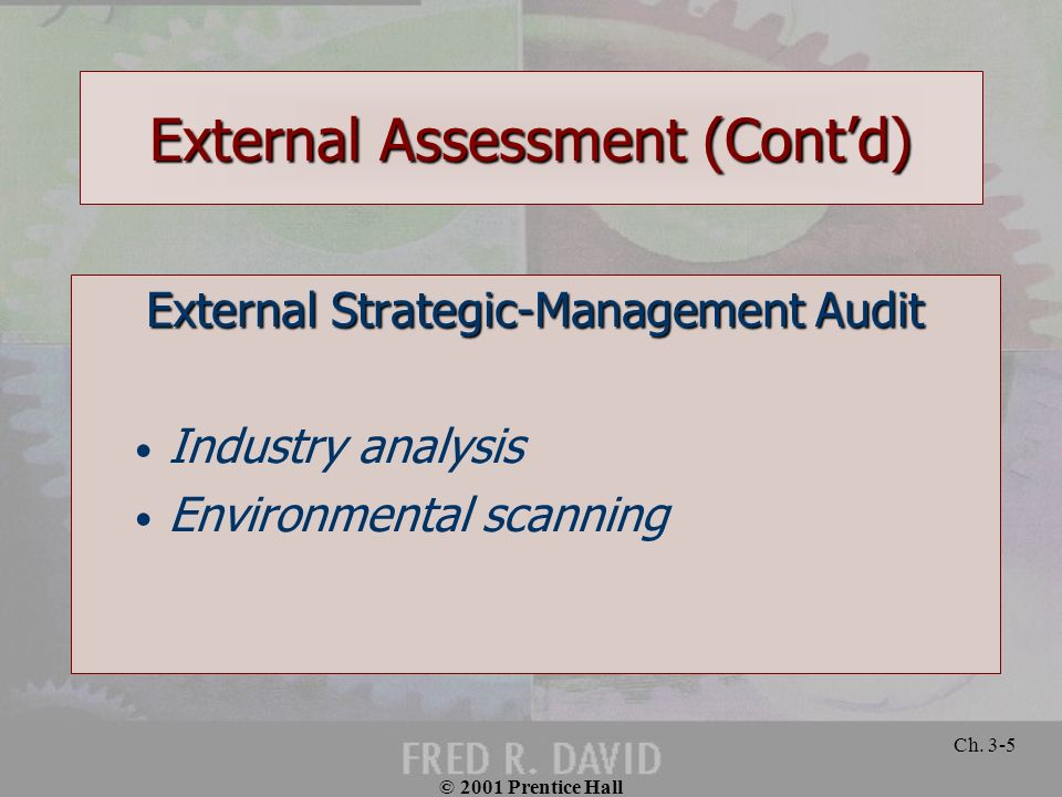 © 2001 Prentice Hall Ch. 3-5 External Assessment (Contd) External Strategic-Management Audit Industry analysis Environmental scanning