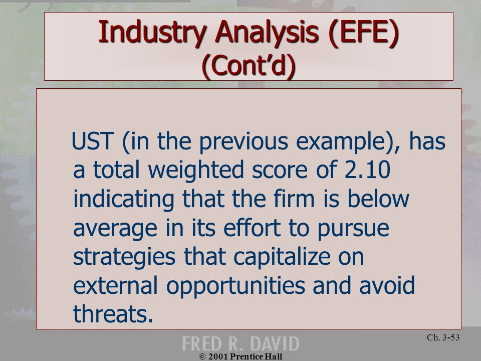© 2001 Prentice Hall Ch. 3-53 Industry Analysis (EFE) (Contd) UST (in the previous example), has a total weighted score of 2.10 indicating that the fi