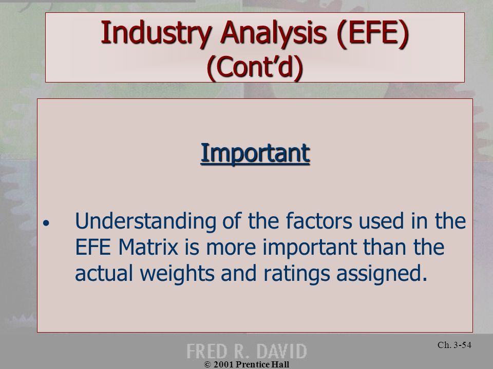 © 2001 Prentice Hall Ch. 3-54 Industry Analysis (EFE) (Contd) Important Understanding of the factors used in the EFE Matrix is more important than the