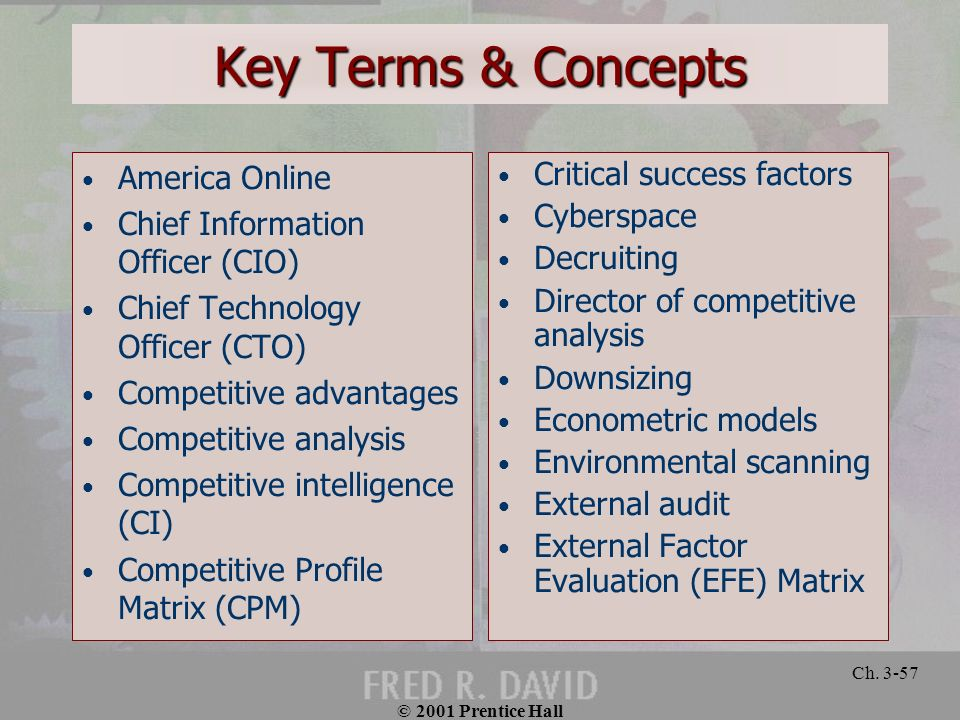© 2001 Prentice Hall Ch. 3-57 Key Terms & Concepts America Online Chief Information Officer (CIO) Chief Technology Officer (CTO) Competitive advantage