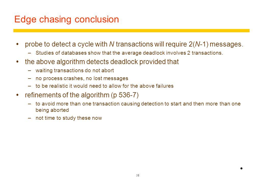 37 Figure 13.15 Probes transmitted to detect deadlock V Held by W Waits for Held by Waits for Waits for Deadlock detected U C A B Initiation W U V W W