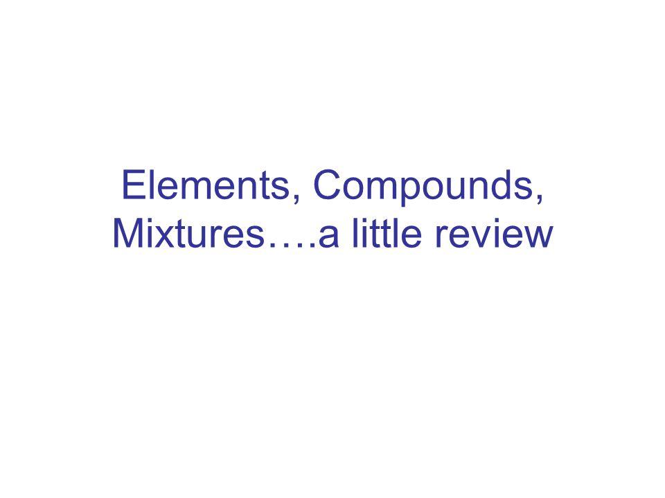 Elements, Compounds, Mixtures….a little review