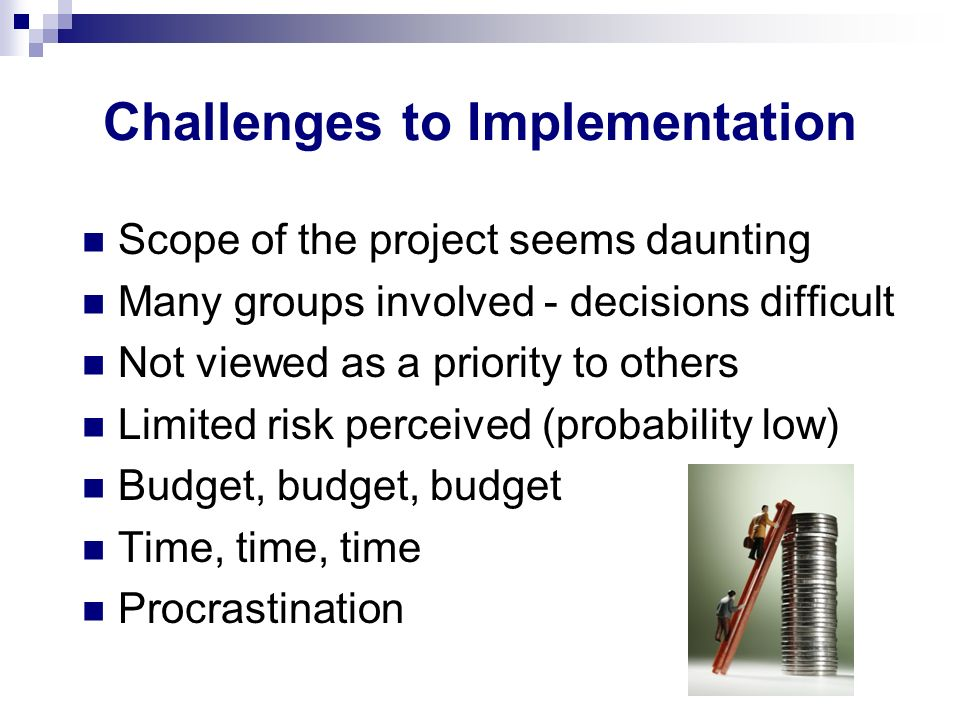Challenges to Implementation Scope of the project seems daunting Many groups involved - decisions difficult Not viewed as a priority to others Limited