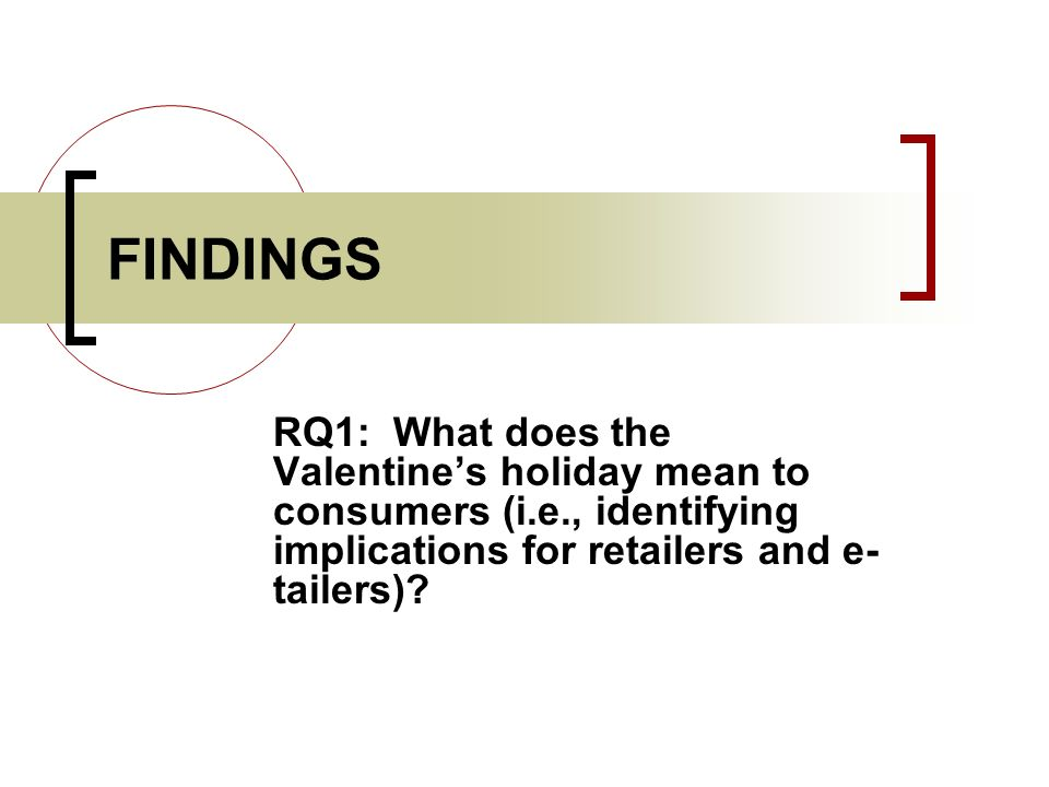 FINDINGS RQ1: What does the Valentines holiday mean to consumers (i.e., identifying implications for retailers and e- tailers)?