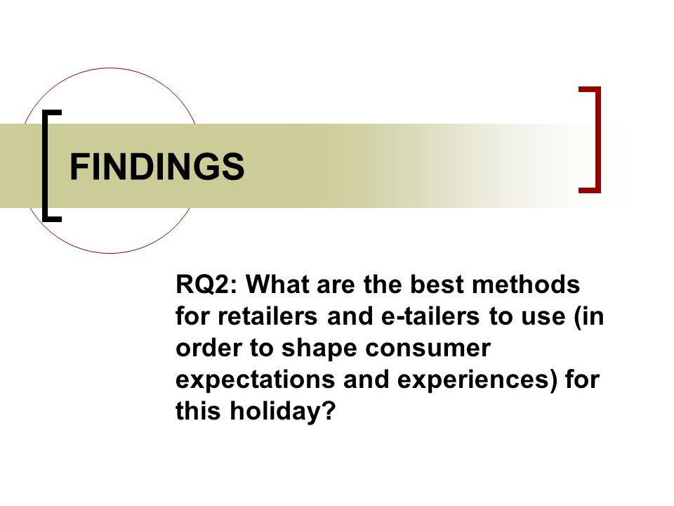 FINDINGS RQ2: What are the best methods for retailers and e-tailers to use (in order to shape consumer expectations and experiences) for this holiday?