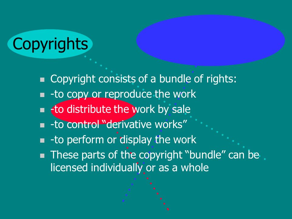 Copyrights n Protect the works of authors n Which can include text, graphics, art, music, lyrics, 3- dimensional works of art, movies, dance, video, artistic performances – almost any original work of authorship n They protect the expression of the idea, not the idea itself n Copyright arises when the work is created n The author of the work owns the copyright n And copyrights can be licensed