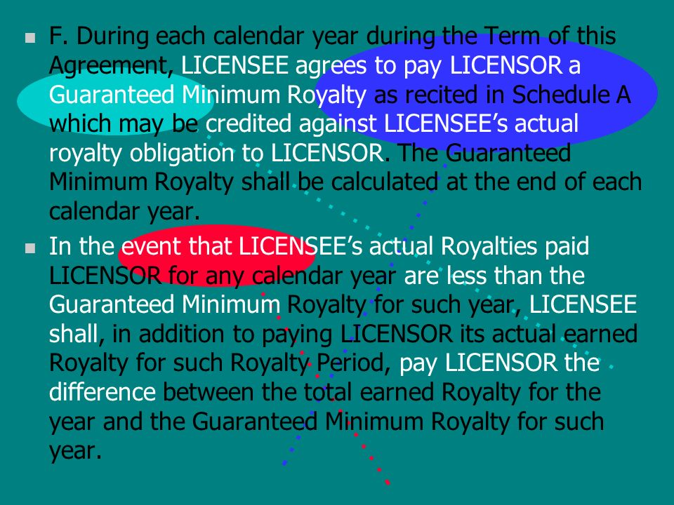 n D. For each Royalty Period, LICENSEE shall provide LICENSOR with a written royalty statement n E.