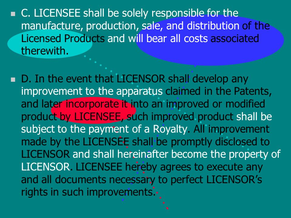 n 6. WARRANTIES AND OBLIGATIONS n A. LICENSOR represents and warrants that, to the best of its knowledge and belief it is the owner of the entire righ