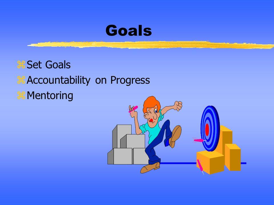 Goals zSet Goals zAccountability on Progress zMentoring