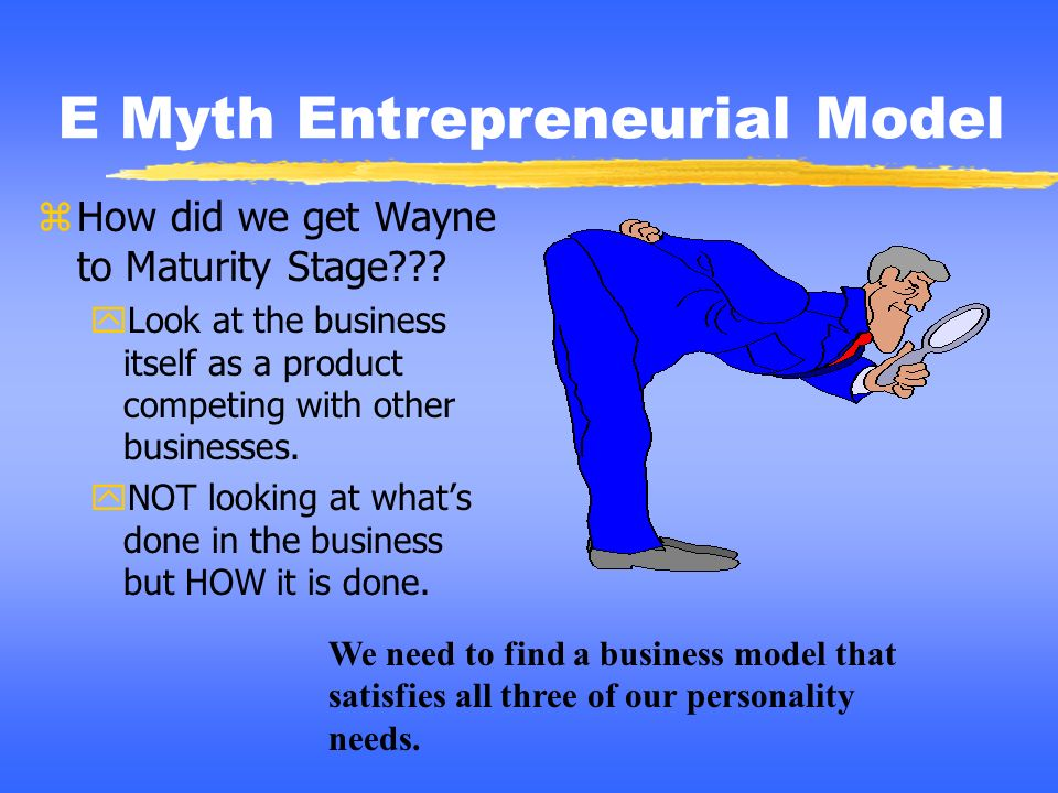 E Myth Entrepreneurial Model zHow did we get Wayne to Maturity Stage??? yLook at the business itself as a product competing with other businesses. yNO