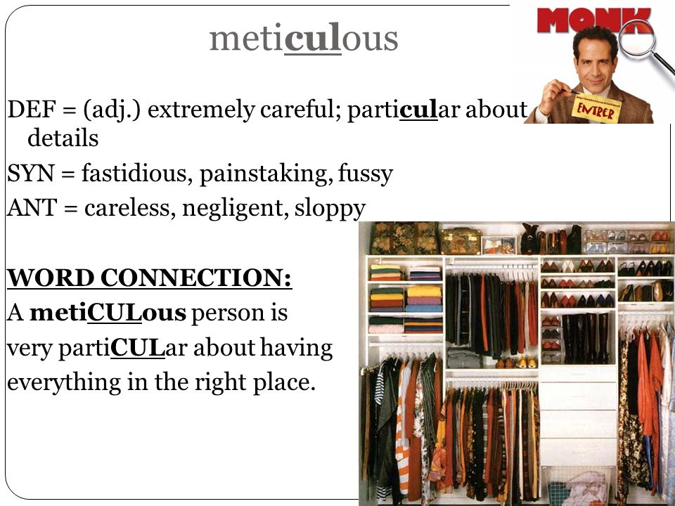 meticulous DEF = (adj.) extremely careful; particular about details SYN = fastidious, painstaking, fussy ANT = careless, negligent, sloppy WORD CONNEC
