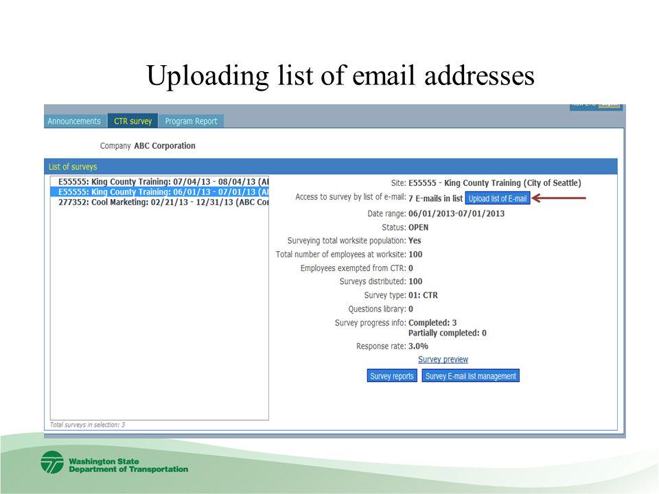 Uploading list of email addresses