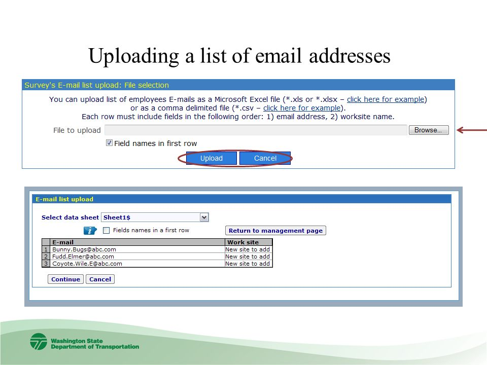 Uploading a list of email addresses