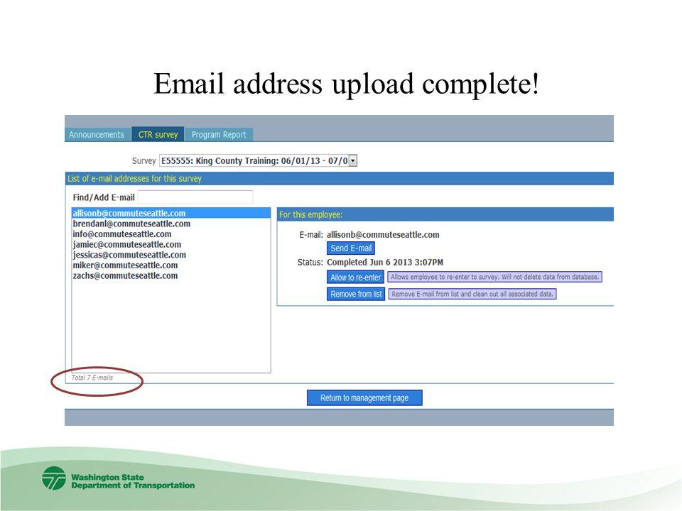 Email address upload complete!