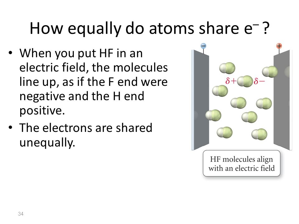 34 How equally do atoms share e – ? When you put HF in an electric field, the molecules line up, as if the F end were negative and the H end positive.