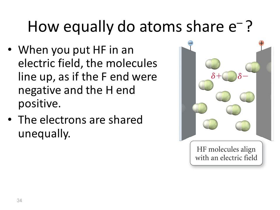35 How equally do atoms share e – .