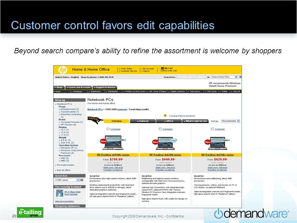 Copyright 2008 Demandware, Inc. - Confidential 29 Customer control favors edit capabilities Beyond search compares ability to refine the assortment is
