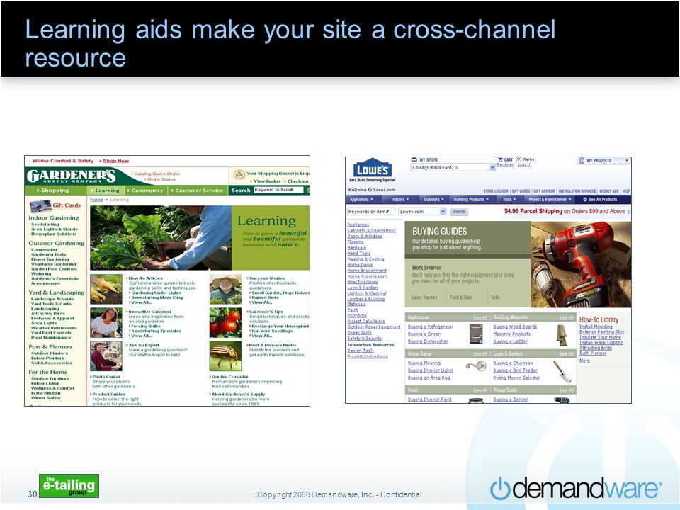 Copyright 2008 Demandware, Inc. - Confidential 30 Learning aids make your site a cross-channel resource