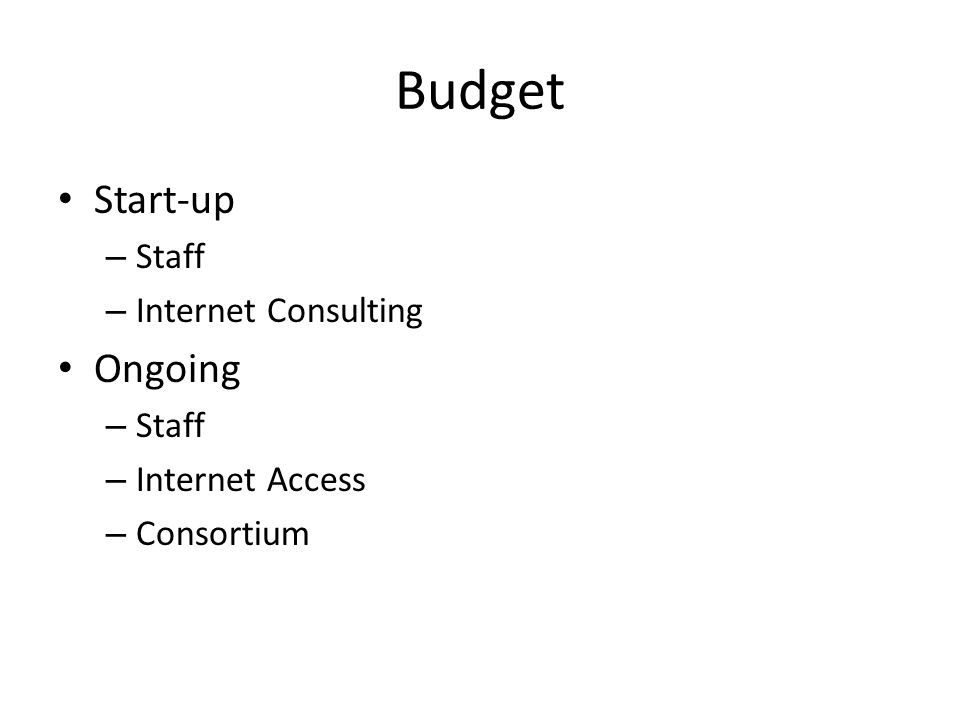 Budget Start-up – Staff – Internet Consulting Ongoing – Staff – Internet Access – Consortium