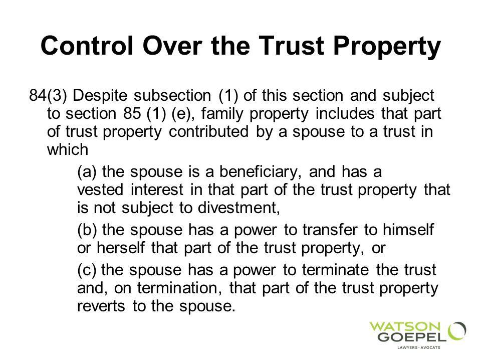 Control Over the Trust Property S.