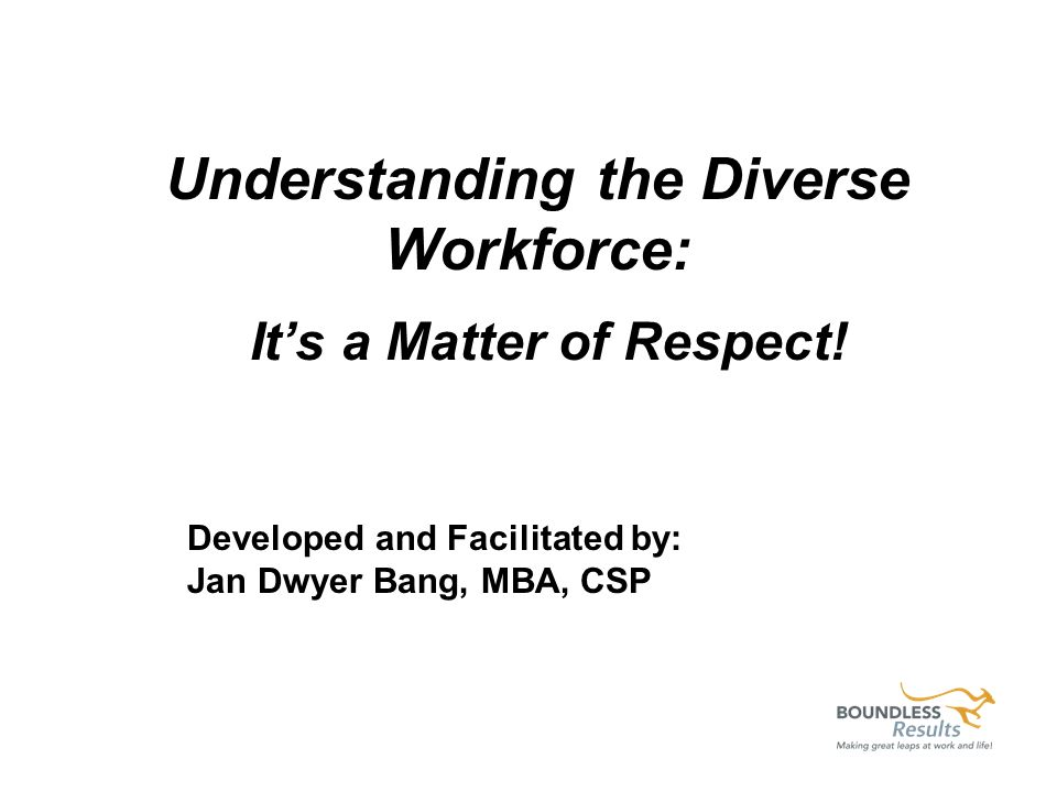 Understanding the Diverse Workforce: Its a Matter of Respect! Developed and Facilitated by: Jan Dwyer Bang, MBA, CSP