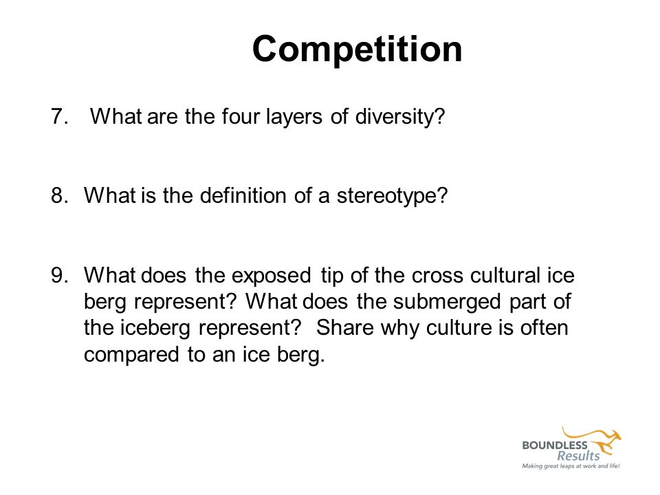 7. What are the four layers of diversity? 8.What is the definition of a stereotype? 9.What does the exposed tip of the cross cultural ice berg represe