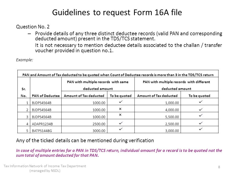 Question No. 2 – Provide details of any three distinct deductee records (valid PAN and corresponding deducted amount) present in the TDS/TCS statement