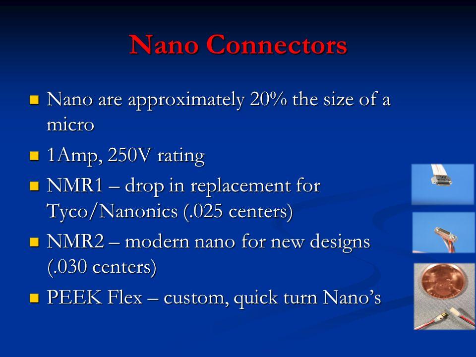 Nano Connectors Nano are approximately 20% the size of a micro Nano are approximately 20% the size of a micro 1Amp, 250V rating 1Amp, 250V rating NMR1